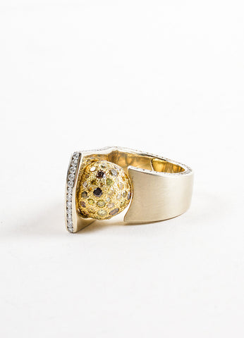 Sherry Bender 14K White Gold and 18K Yellow Gold Diamond Pave Ball Curve Ring Frontview