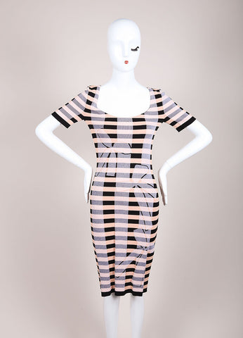 Sonia Rykiel New With Tags Black and Nude Stretch Knit Stripe Bow Print Dress Frontview