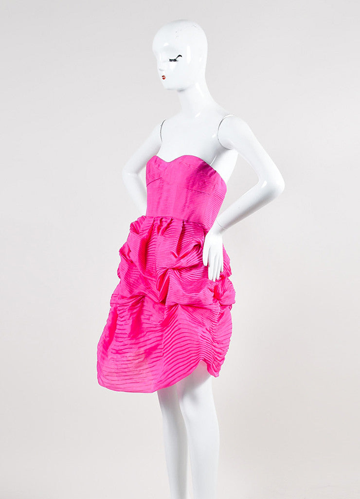 Pink Silk Stella McCartney Pleated Strapless Bubble Dress Sideview