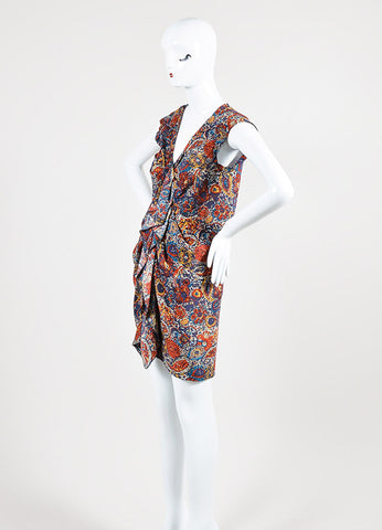 Multicolor Thakoon Chiffon Printed Buttoned Sleeveless Tunic Dress Front