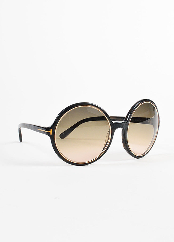 "Tom Ford Grey Gold Tone Trim ""Carrie"" Oversized Round Sunglasses Side"