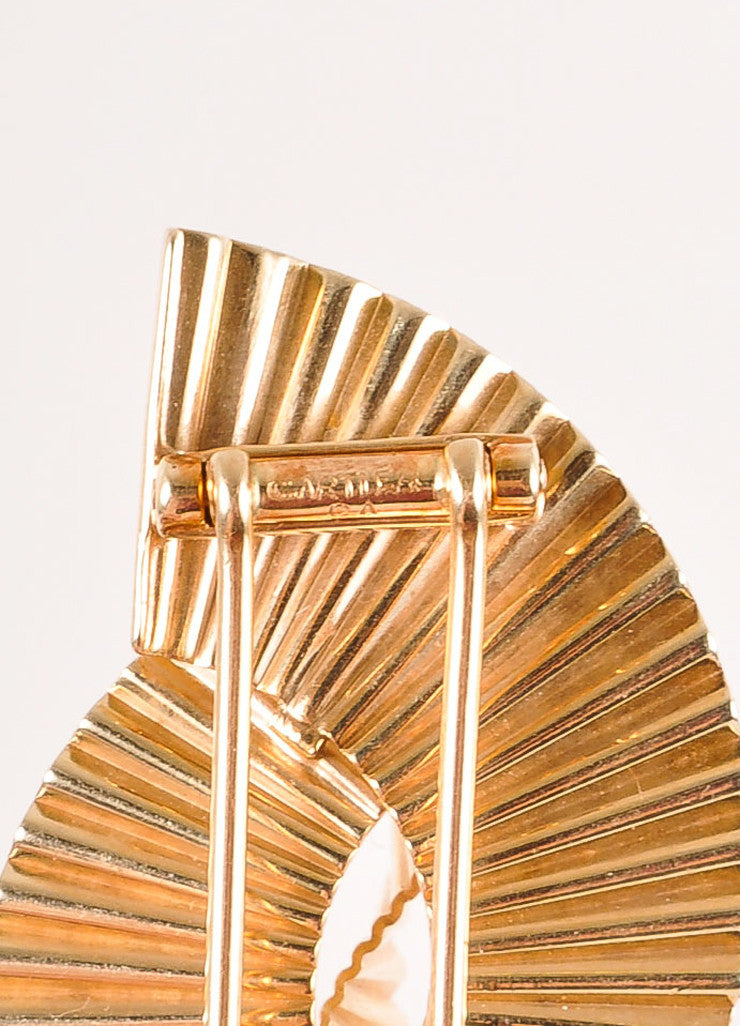 Cartier 14K Gold Thick Single Wave Pin Brooch Brand