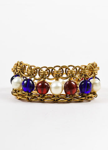 Chanel Gold Toned, Blue, and Red Faux Pearl Beaded Layered Chain Link Bracelet Frontview