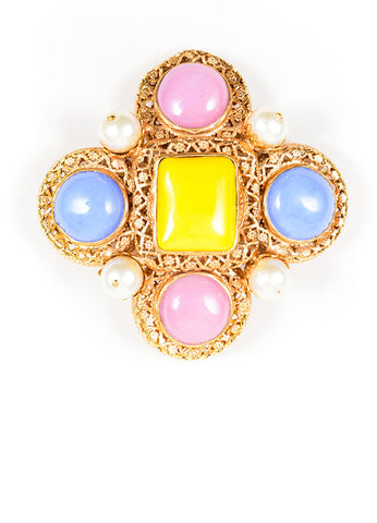 Gold Toned, Pink, and Blue Chanel Cabochon and Pearl Gripoix Pin Brooch Frontview
