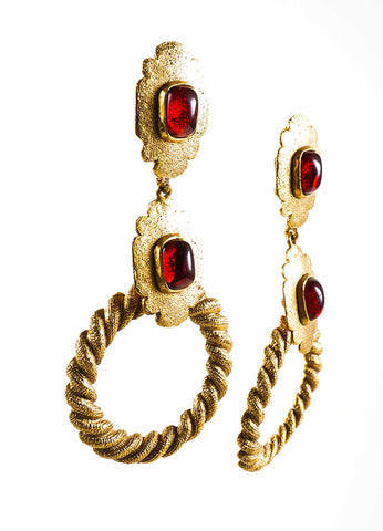 Gold Toned and Red Chanel Textured Dangle Open Circle Earrings Sideview
