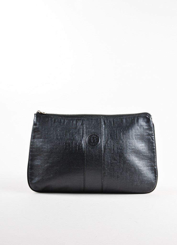 Fendi Black Leather Logo Monogram Embossed Pouch Clutch Bag Frontview