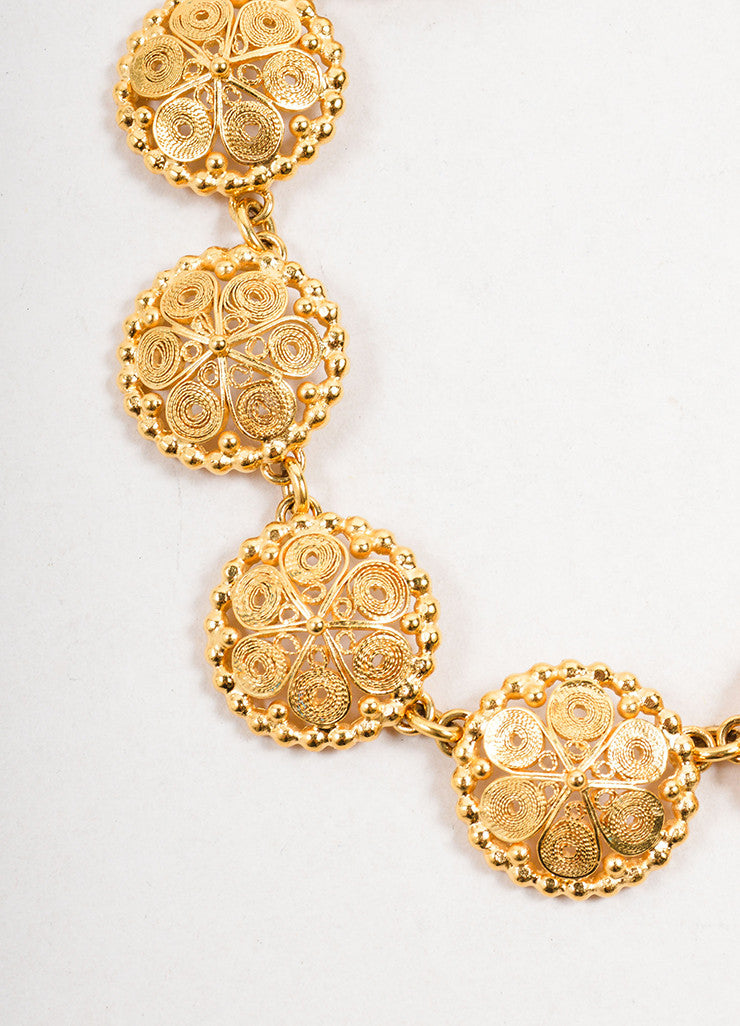 Goossens Gold Toned Swirl Texture Circle Link Collar Necklace Detail