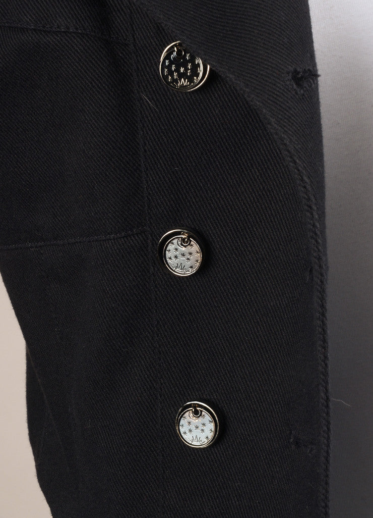 Karl Lagerfeld Black Paneled Canvas Double Breasted Cropped Jacket Detail