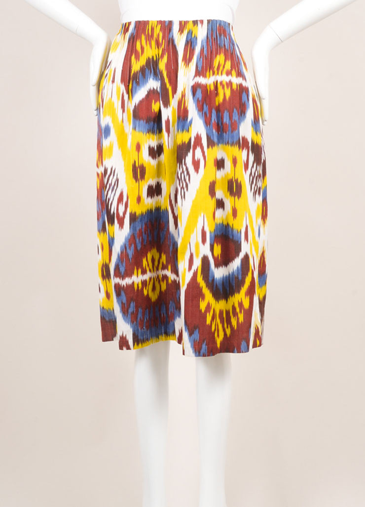 Vintage Oscar De La Renta Red, Yellow, And Blue Ikat Print A Line Skirt Frontview