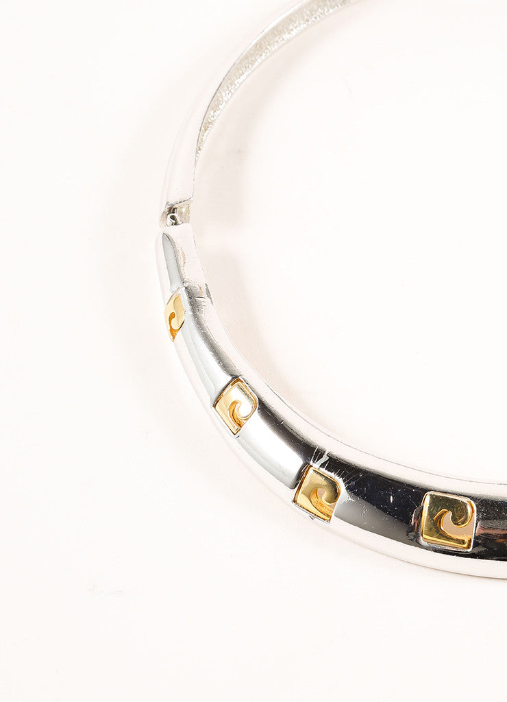 Pierre Cardin Silver and Gold Toned Logo Cut Out Choker Necklace Detail
