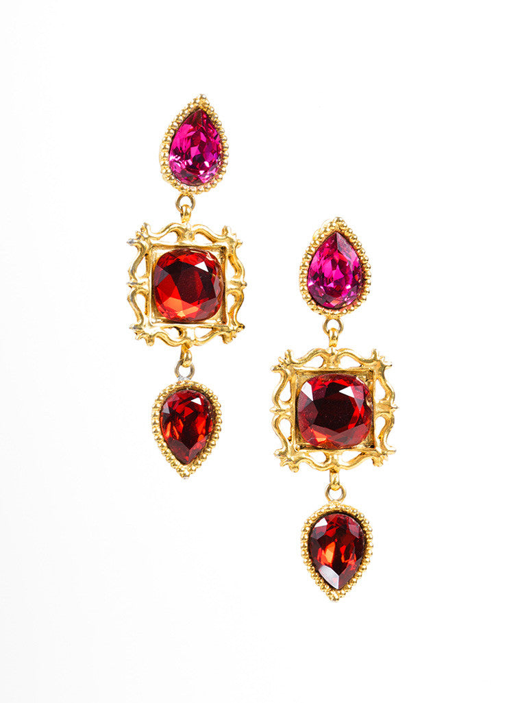 Yves Saint Laurent Gold Toned, Red, and Pink Dangle Earrings Frontview