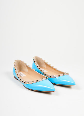 Blue and Gold Valentino Patent Leather Pointed Toe Rockstud Flats Frontview