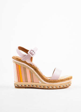 Valentino Pink Striped Leather Canvas Espadrille Wedge Sandals Sideview