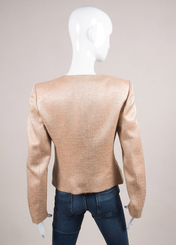 Valentino Nude and Black Wool and Silk Ruffle Bow Zip Jacket Backview