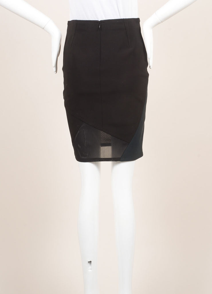 Yigal Azrouel New With Tags Black and Green Mechanical Stretch Paneled Pencil Skirt Backview