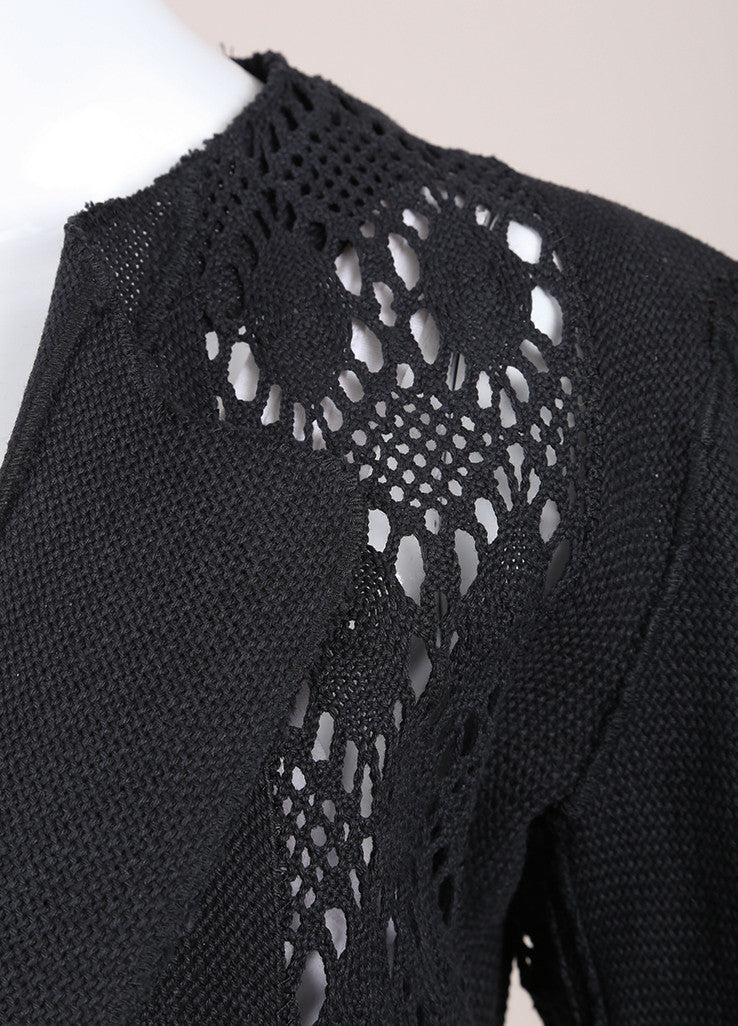 Yves Saint Laurent Black Pique Woven Embroidered Cut Out Crop Jacket Detail