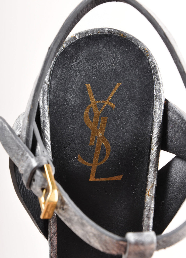"Yves Saint Laurent Silver and Black Leather ""Tribute"" Sandals Brand"