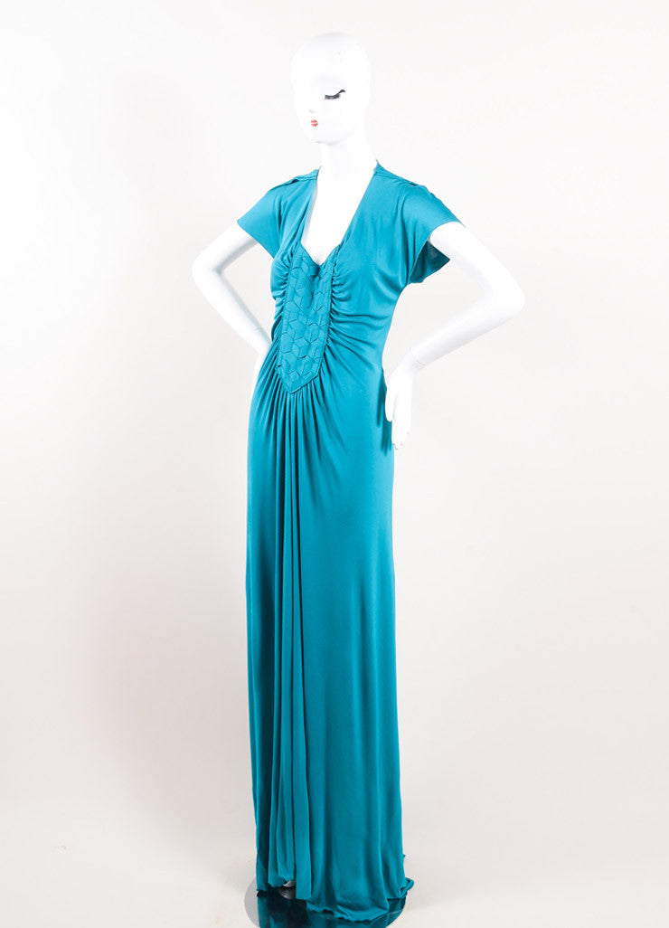 Yves Saint Laurent Teal Viscose Silk Woven Front Floor Length Gown Sideview