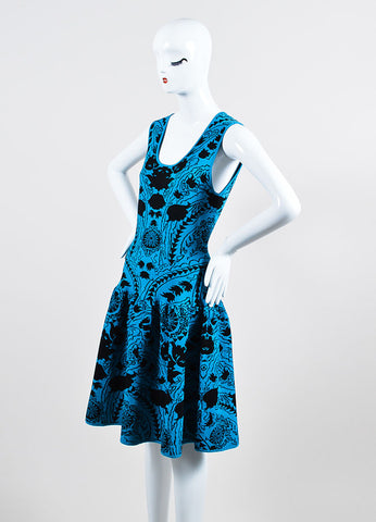 Blue and Black Marchesa Voyage Knit Sleeveless Dress Side