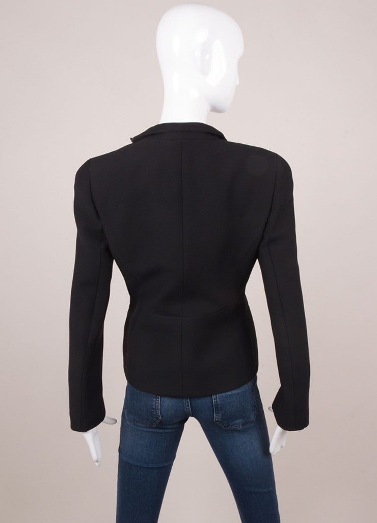 Black Wool Long Sleeve Structured Zip Jacket With Satin Trim