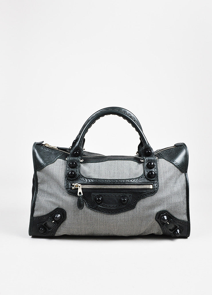 Balenciaga Black and White Dotted Textile Leather Giant 21 Covered Brogues Work Bag Frontview