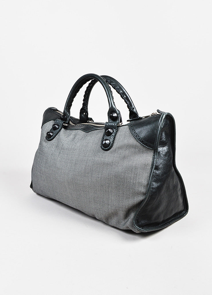 Balenciaga Black and White Dotted Textile Leather Giant 21 Covered Brogues Work Bag Sideview