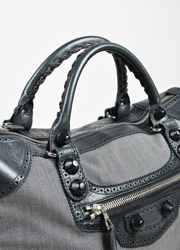 Balenciaga Black and White Dotted Textile Leather Giant 21 Covered Brogues Work Bag Detail 3