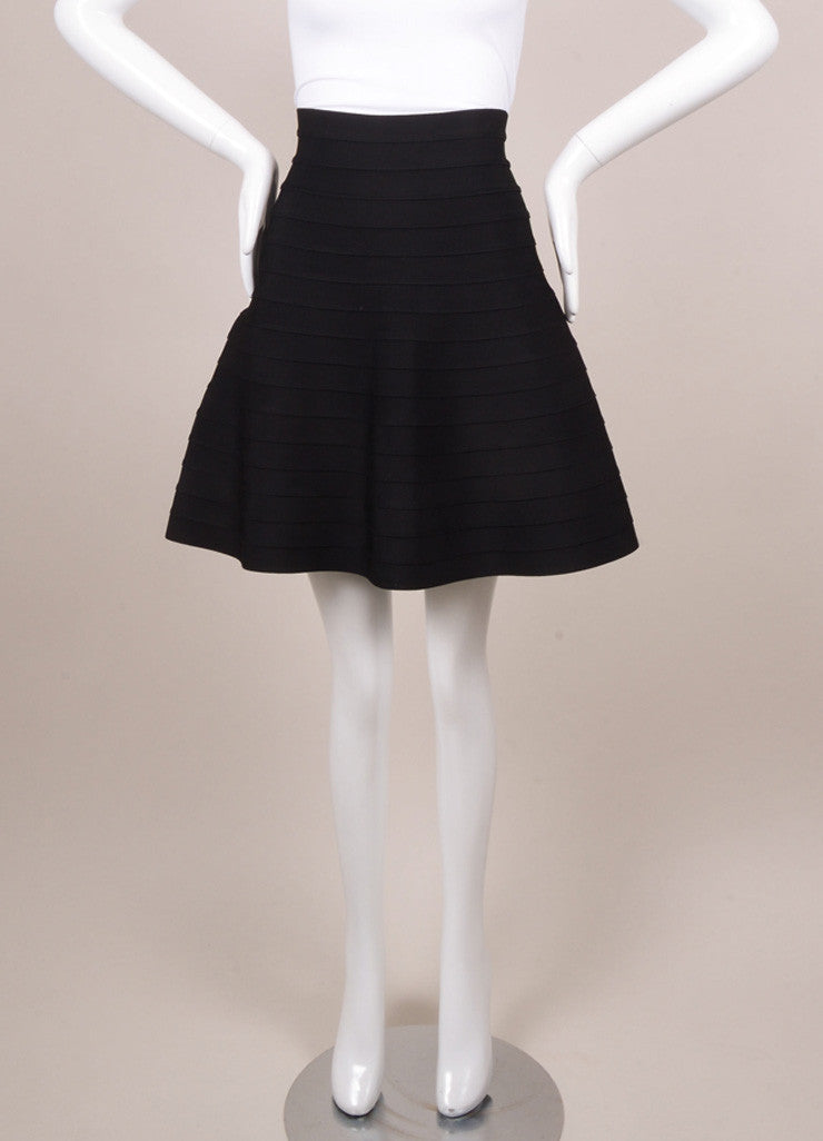 Herve Leger Black Bandage Skater Skirt Frontview