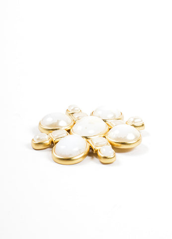 Chanel Gold Toned and Cream Geometric Stone Embellished Oversized Brooch Sideview