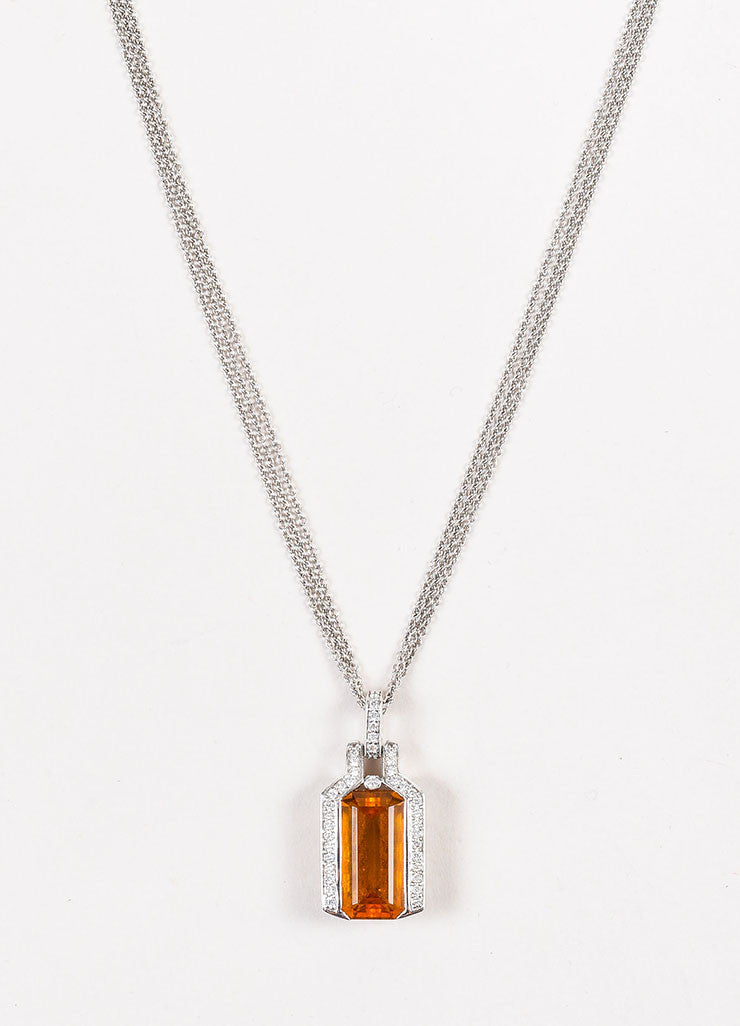 18K White Gold 7.74 ct Citrine Stone 0.43 ct Diamond Rolo Chain Pendant Necklace Detail