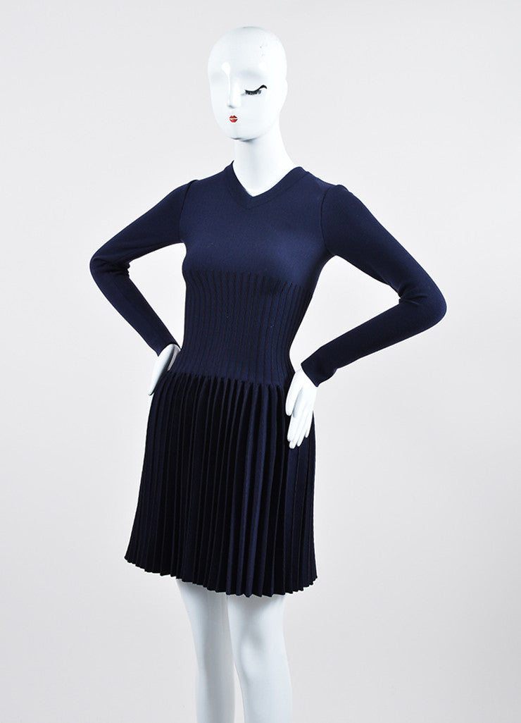 Alaia Navy Wool Pleated Drop Waist V-Neck Long Sleeve Dress Sideview
