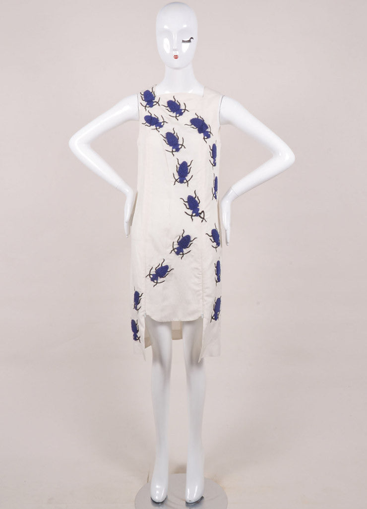 "Azede Jean-Pierre New With Tags Beige and Blue Silk and Linen Beetles ""Swarm"" Dress Frontview"