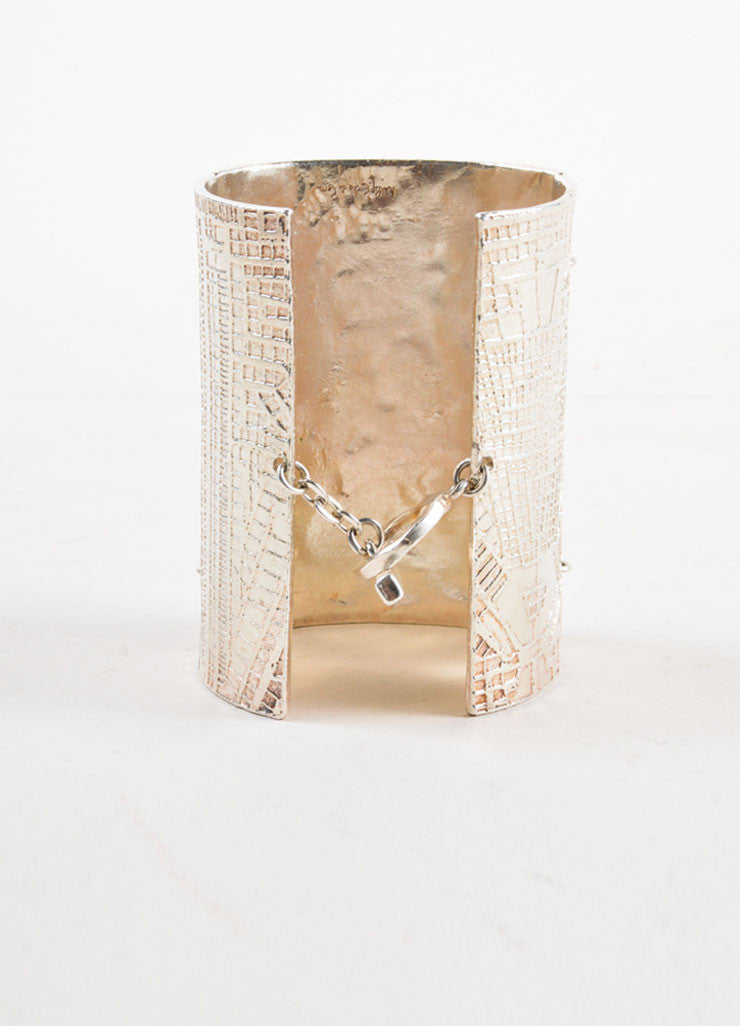 Biche de Bere Silver Toned Engraved Articulated Cuff Bracelet Backview