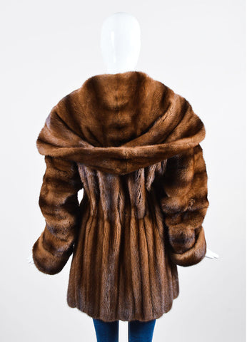 Bisang Brown Fur Double Breasted Hooded Coat Backview