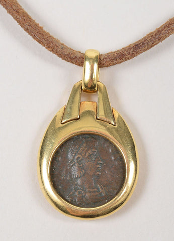 "18K Yellow Gold and Leather Bulgari ""Monete"" Ancient Coin Pendant Cord Necklace"