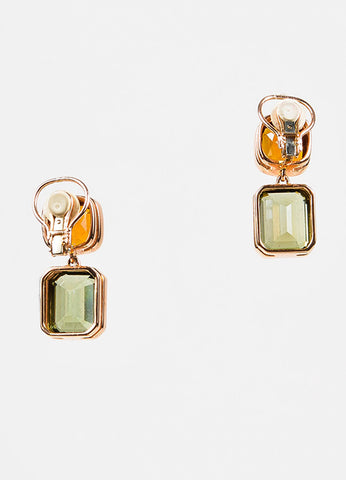 Sidney Garber 18K Rose Gold, Green Amethyst, and Citrine Clip On Earrings Backview
