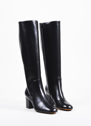 Celine Black Leather Mid Height Block Heel Tall Boots Frontview
