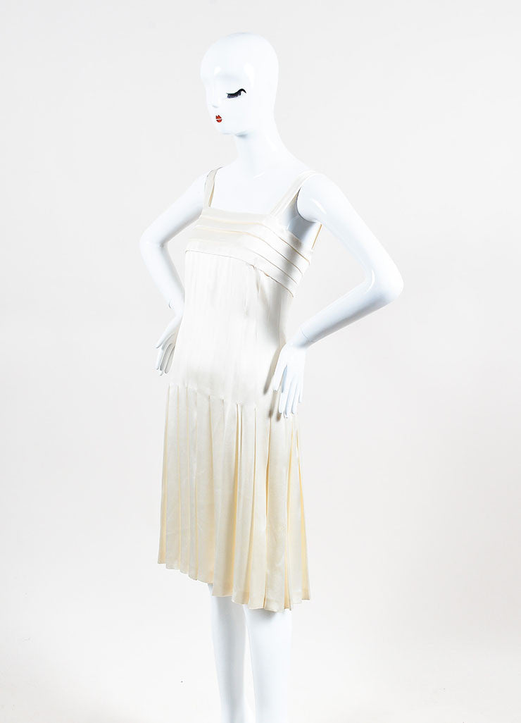 Chanel Cream Silk Spaghetti Strap Pleated Faux Pearl Detail Dress Sideview