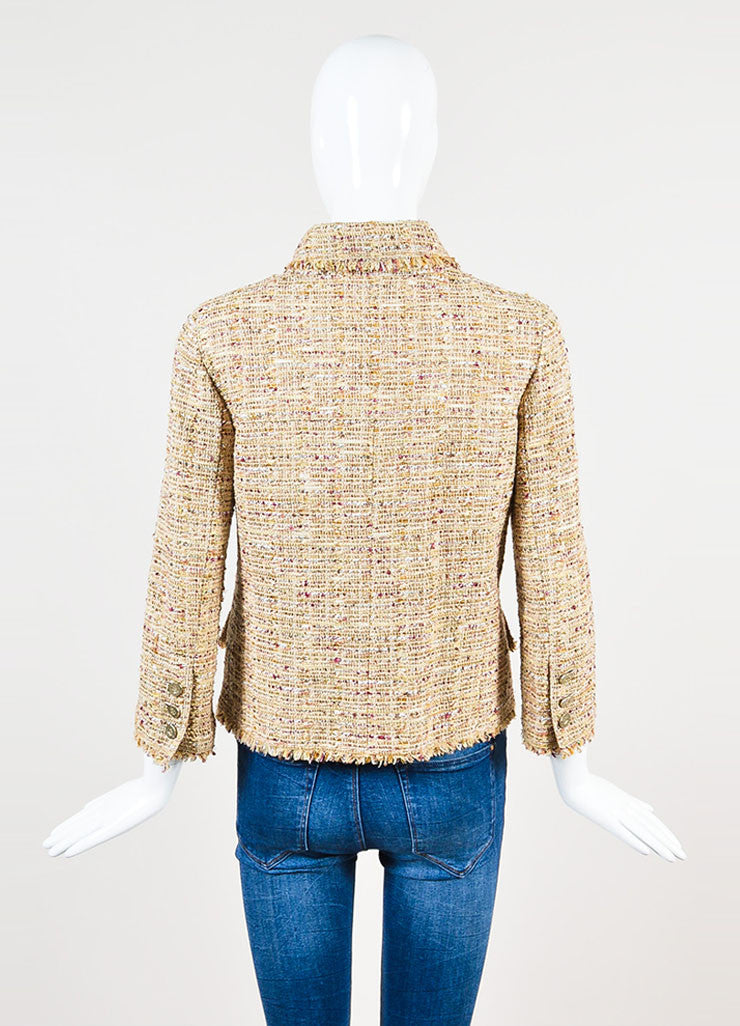 Chanel Tan and Burgundy 'CC' Button Tweed Jacket Backview