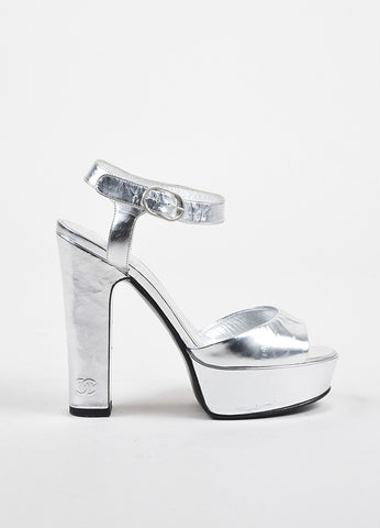 Silver Chanel Metallic Leather Brushstroke Platform Chunky Sandals Side