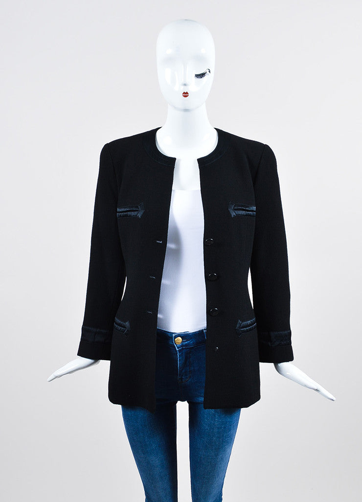 Black Chanel Wool Satin Trim 'CC' Button Jacket Frontview