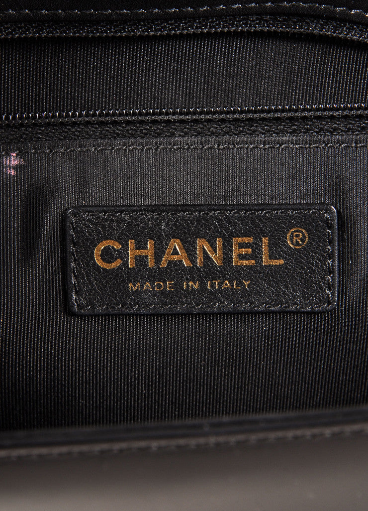 "Chanel Black and Brass Toned Smooth Leather Chain Strap ""Le Boy"" Flap Bag Brand"