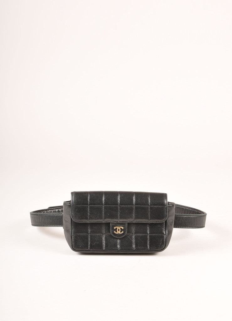 "Chanel Black Lambskin Leather Square Quilted ""CC"" Logo Waist Bag Belt Frontview"