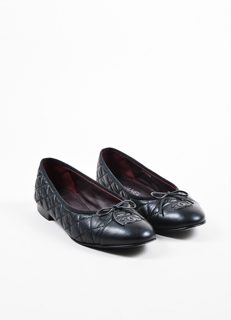 Chanel Black Quilted Leather 'CC' Logo Bow Detail Ballerina Flats Frontview