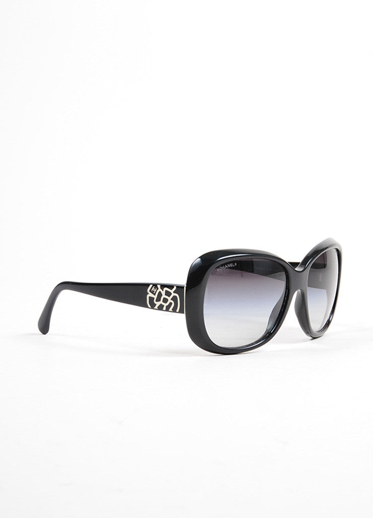 "Black and Silver Toned Chanel Plastic ""5248"" Flower 'CC' Oversized Sunglasses Sideview"