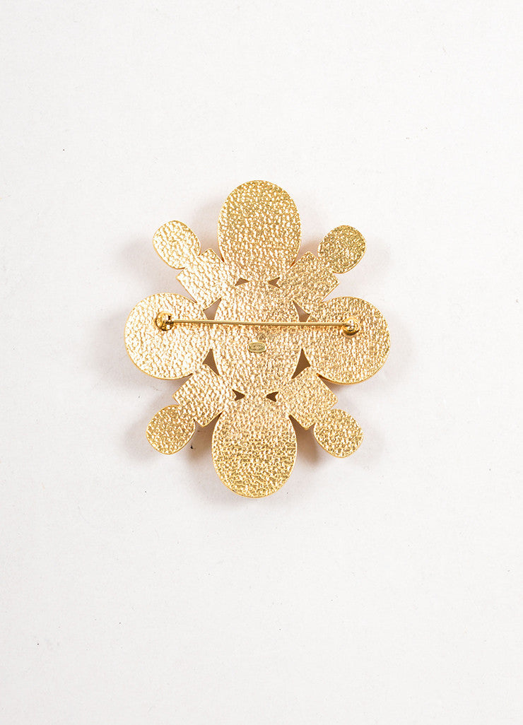 Chanel Gold Toned and White Round Square Stone Geometric Brooch Backview