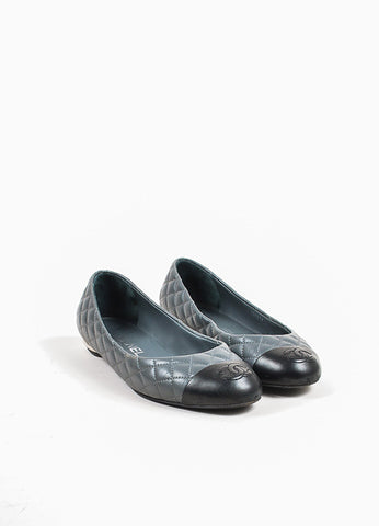 Chanel Grey and Black Quilted Leather 'CC' Logo Cap Toe Ballet Flats Frontview