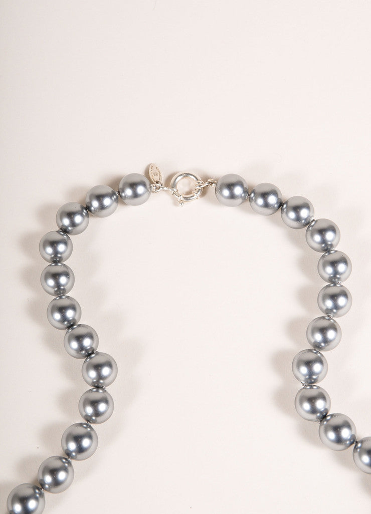 Chanel Grey Sterling Silver and Faux Pearl Single Strand Necklace Detail 2