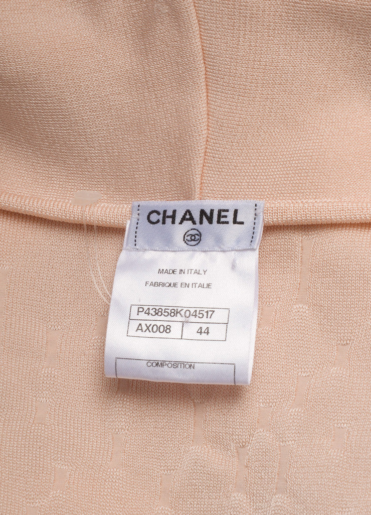 Chanel Light Pink Knit Faux Pearl Double Breasted Short Sleeve Sweater Brand