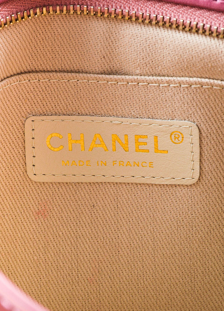 Chanel Pink Suede Patent Leather Camellia Zip Wristlet Clutch Bag Brand